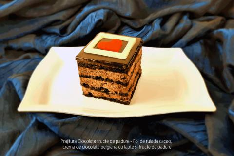 Prajitura Ciocolata fructe de padure - Foi de rulada cacao, crema de ciocolata belgiana cu lapte si fructe de padure