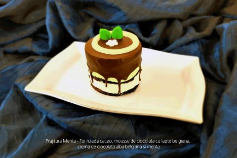 Prajitura Menta - Foi rulada cacao, mousse de ciocolata cu lapte belgiana, crema de ciocolata alba belgiana si menta