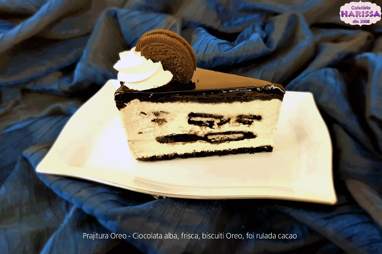 Prajitura Oreo - Ciocolata alba, frisca, biscuiti Oreo.