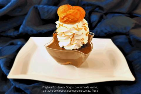 Prajitura Profiterol - Gogosi cu crema de vanilie, ganache de ciocolata belgiana cu coniac, frisca.