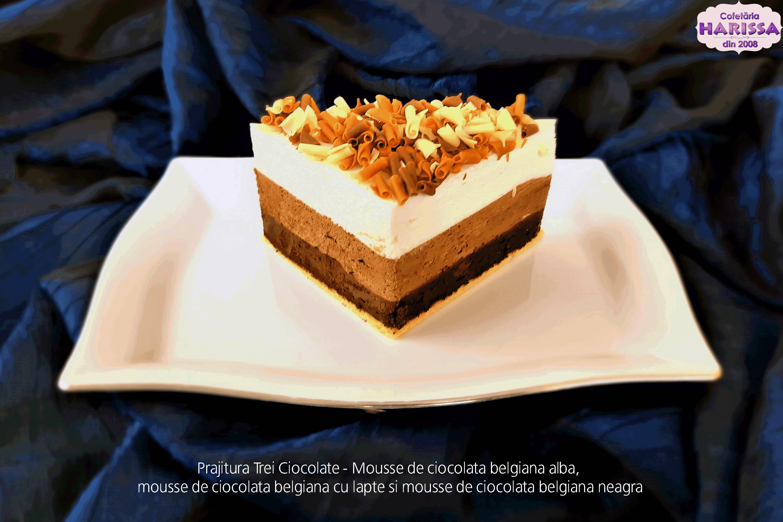 Prajitura Trei Ciocolate - Mousse de ciocolata belgiana alba, mousse de ciocolata belgiana cu lapte si mousse de ciocolata belgiana neagra.